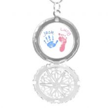 Large Circular Hand and Foot Print Locket - White Background - Unique Keepsake Gift